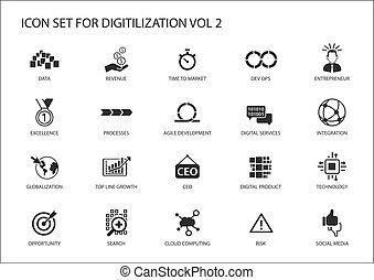 データ, ops, のように, アイコン, 敏捷, トピック, プロダクト, dev, 媒体, 統合, ベクトル, 開発, サービス, 社会, globalization, デジタル, digitilization, 技術