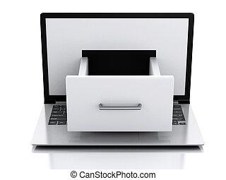 データ, storage., ラップトップ, ∥で∥, ファイル, cabinet.