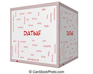 デートする, 単語, 雲, 概念, 上に, a, 3d, 立方体, whiteboard