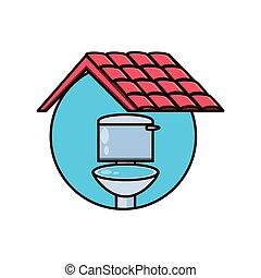 トイレ, アイコン, 隔離された, 屋根, 衛生