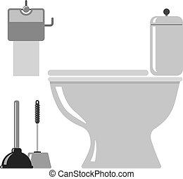 トイレ, アイコン, wc