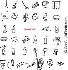 トイレ, オブジェクト, set., イラスト, 手, ベクトル, 引かれる, doodles
