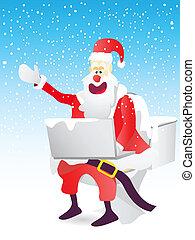 トイレ, オンラインで, santa, 座りなさい