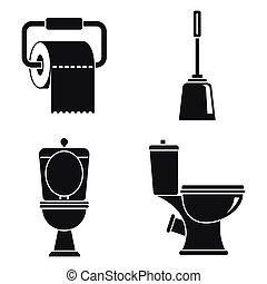 トイレ, スタイル, wc, アイコン, セット, 単純である