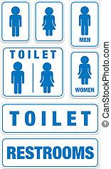 トイレ, セット, サイン