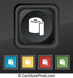 トイレ, セット, シンボル。, 手ざわり, カラフルである, ボタン, ベクトル, 黒, ペーパー, 流行, 5, アイコン, あなたの, design.