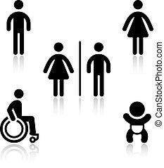 トイレ, セット, 黒, pictograms