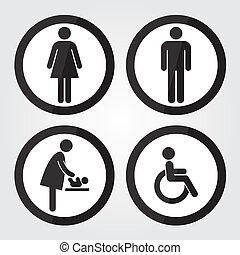 トイレ, ボーダー, 印, 印, ハンディキャップ, 黒, 赤ん坊, 変化する, 円, 人, 女性