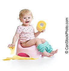 トイレ, モデル, ポット, 部屋, ペーパー, 赤ん坊, 微笑, 回転しなさい