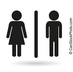 トイレ, 女性, 黒, サイン, 紳士, アイコン