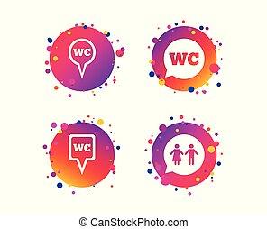 トイレ, 女性, wc, room., ポインター, icons., ベクトル, 紳士