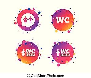 トイレ, 女性, wc, room., icons., ベクトル, 紳士