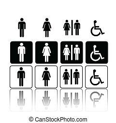 トイレ, 女, サイン, 人