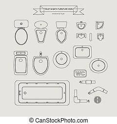 トイレ, 家具, アイコン, アウトライン, 浴室