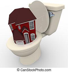 トイレ, 家, -, 下方に, 価値, 洗い流すこと, 家, 落ちる