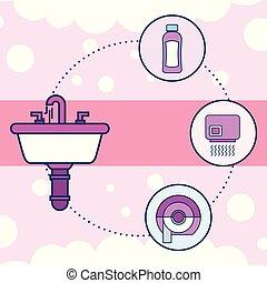 トイレ, 洗面器, シャンプー, 手, 乾燥機, ペーパー