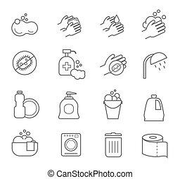 トイレ, 浴室, シルエット, icons., 衛生, ベクトル, 清掃, きれいにしなさい, サイン, 線