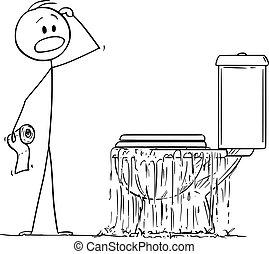 トイレ, 浴室, 見る, ベクトル, あふれる, 強調された, 漫画, 人