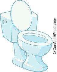 トイレ, 白, ベクトル, イラスト, バックグラウンド。