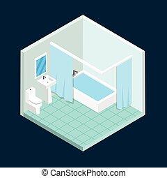 トイレ, 等大, ベクトル, design.