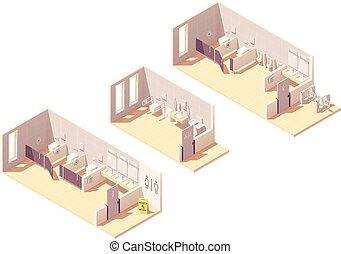トイレ, 等大, 給料, ベクトル, 部屋, 公衆