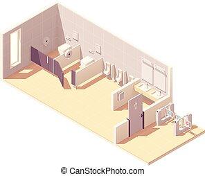 トイレ, 等大, 部屋, ベクトル, マレ, 公衆