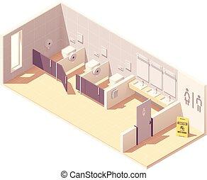 トイレ, 等大, 部屋, ベクトル, 女性, 公衆