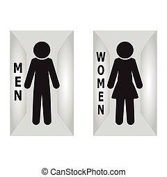トイレ, 部屋, 平ら, 印, 印, 仮縫い, アイコン