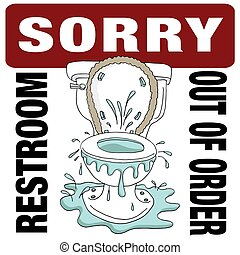 トイレ, restroom, 壊される, 残念, 順序, から