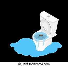 トイレ, wc, canalization., がらくた, 詰まらせられた, leakage, isometry.