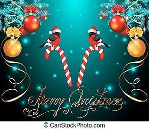 トウヒ, カード, 杖, ボール, クリスマス, キャンデー, bullfinches