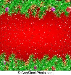 トウヒ, クリスマス, 赤い背景, ブランチ