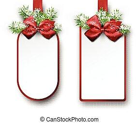 トウヒ, ペーパー, twigs., 贈り物, カード, 白