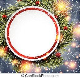 トウヒ, 上に, 紙カード, twigs., 贈り物, 白