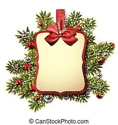 トウヒ, 上に, 紙カード, twigs., 贈り物