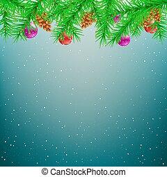トウヒ, 青, クリスマス, 背景, 冬
