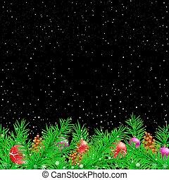 トウヒ, 黒, クリスマス, 背景, 夜