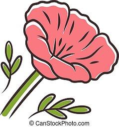 トウモロコシ, blossom., ケシ, wildflower., 咲く, ベクトル, plants., 赤, ...