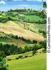 トスカーナ, 丘陵性, 優しい, 村, 小さい, 風景