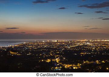 トスカーナ, 都市, livorno, 光景, 夕闇, 航空写真
