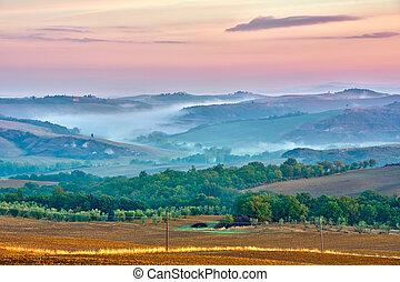 トスカーナ, 風景, 日の出
