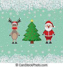 トナカイ, claus, 木, クリスマス, santa