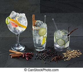 トニック, カクテル, グレープフルーツ, きゅうり, ジン, リマ