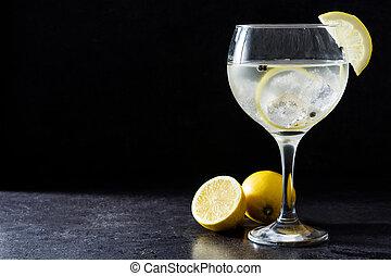 トニック, レモン, 石, ガラス, 黒い背景, ジン