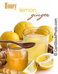 トニック, レモン, 蜂蜜, ショウガ