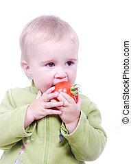 トマト, かわいい, わずかしか, 食べること, 女の子