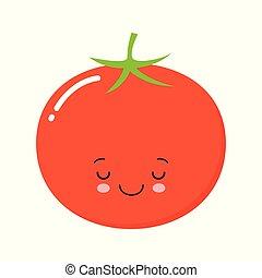 トマト, かわいい, 微笑, 概念, 平ら, 特徴, 隔離された, イラスト, 漫画, バックグラウンド。, ベクトル, 野菜, 白, tomato., icon., 幸せ