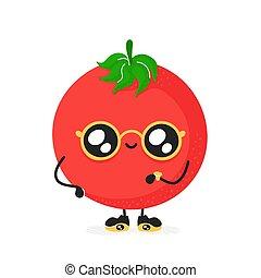 トマト, かわいい, 微笑, 特徴, 幸せ