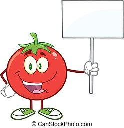 トマト, の上, 印, 保有物, ブランク, 赤