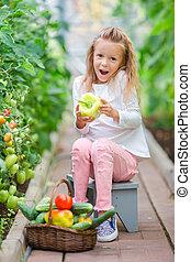 トマト, わずかしか, 大きい, 手, greenhouse., 肖像画, 女の子, 収穫する, 愛らしい, 子供